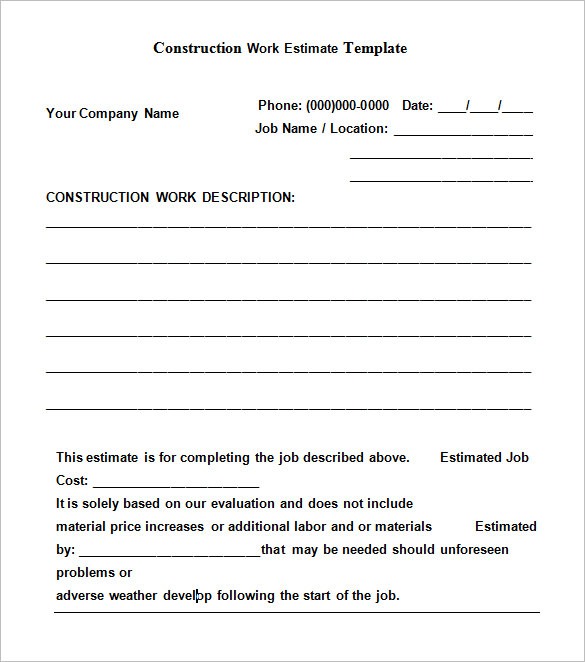 free construction estimate templates collections