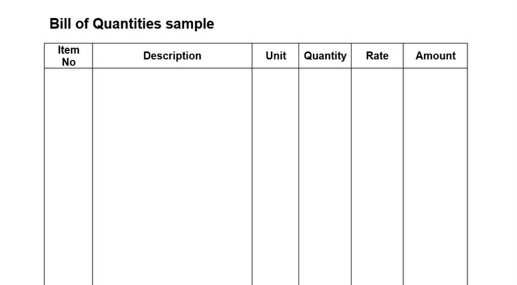 Bill of quantities sample format