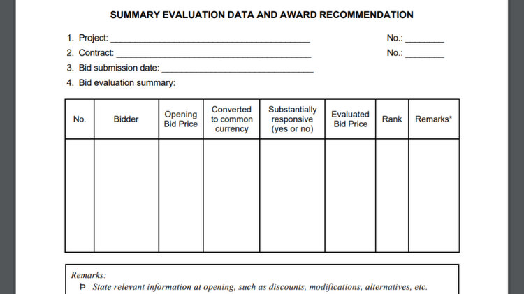 Construction tender evaluation template